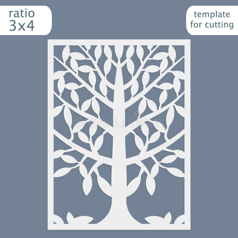 Laser cut wedding invitation card template. Cut out the paper card with lace pattern. Greeting card template for cutting plotter royalty free stock images