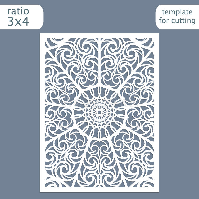 Laser cut wedding invitation card template. Cut out the paper card with lace pattern. Greeting card template for cutting plotter. Vector stock illustration