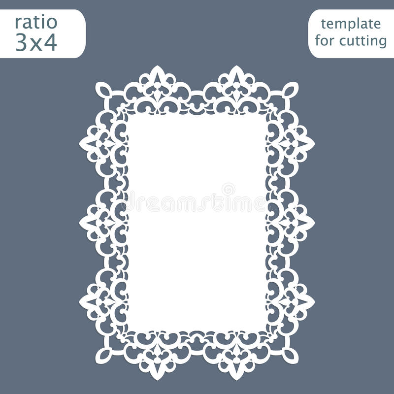 Laser cut wedding invitation card template with openwork border. Cut out the paper card with lace pattern. Greeting card templat. E for cutting plotter. Vector vector illustration