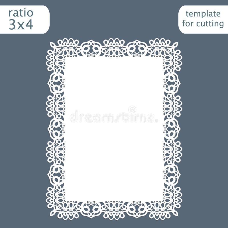 Laser cut wedding invitation card template with openwork border. Cut out the paper card with lace pattern. Greeting card templat. E for cutting plotter. Vector royalty free illustration