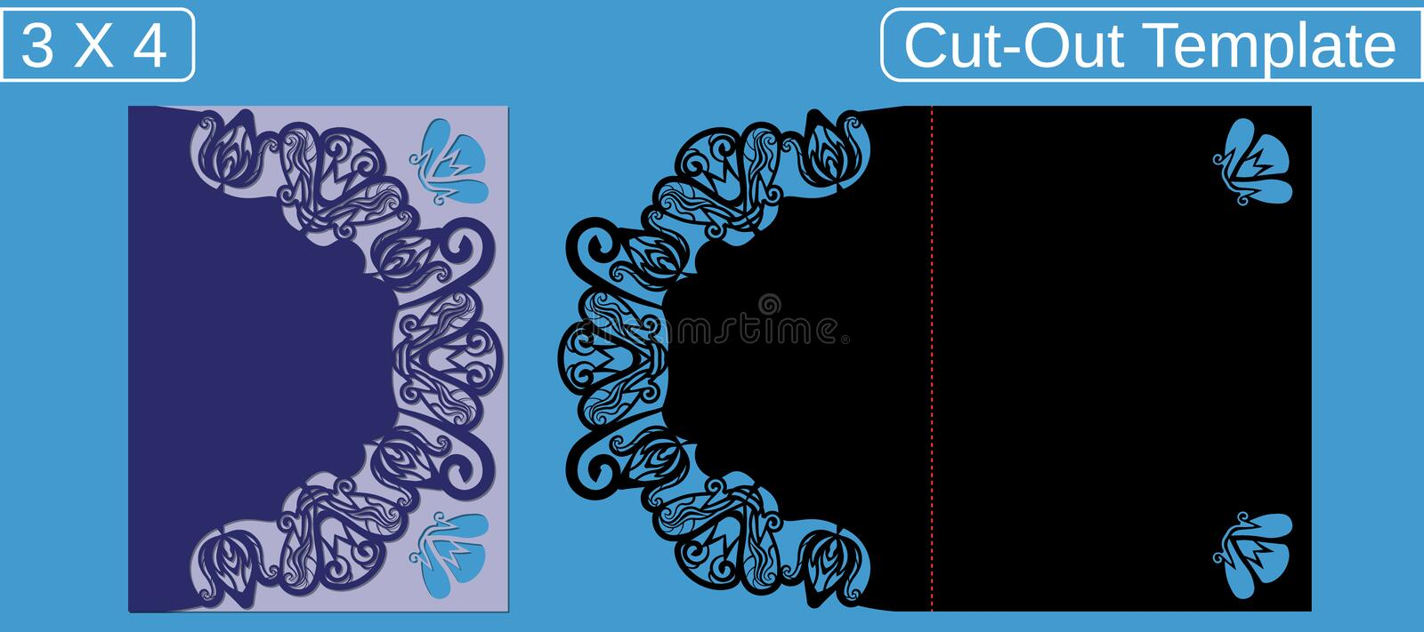 Laser cut wedding invitation card template.  Cut out the paper card with floral pattern.  Greeting card with an aspect ratio of 3 stock image