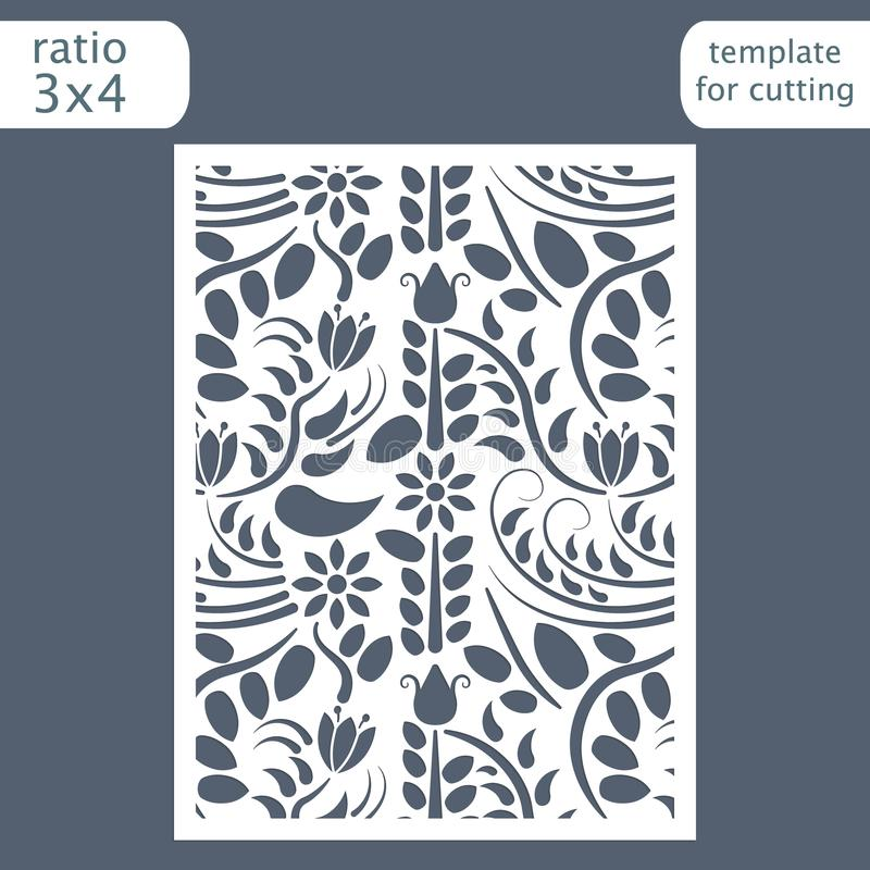 Laser cut wedding invitation card template. Cut out the paper card with floral pattern. Greeting card template for cutting plott vector illustration