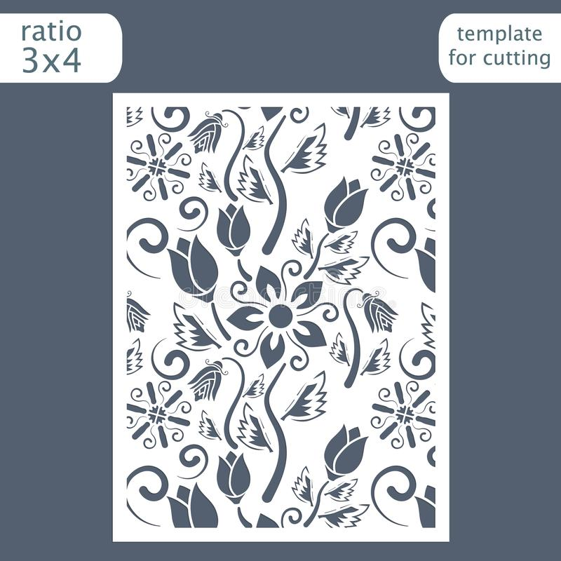 Laser cut wedding invitation card template. Cut out the paper card with floral pattern. Greeting card template for cutting plott royalty free illustration