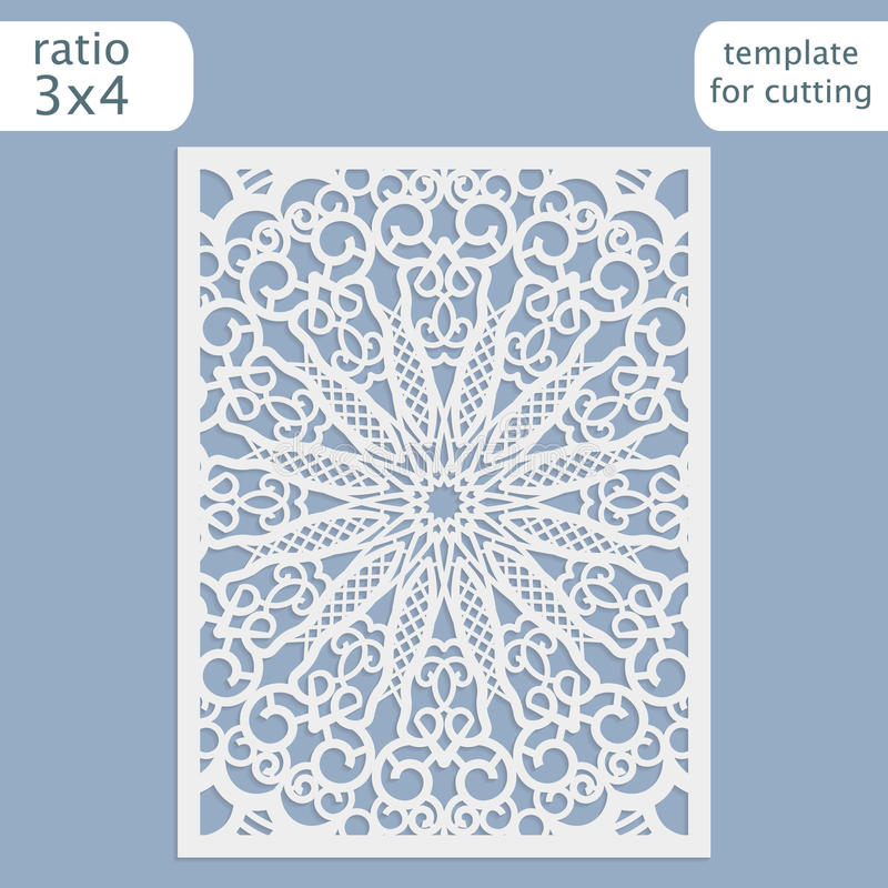 Laser cut wedding invitation card template vector. Cut out the paper card with lace pattern. Greeting card template for cutting royalty free illustration
