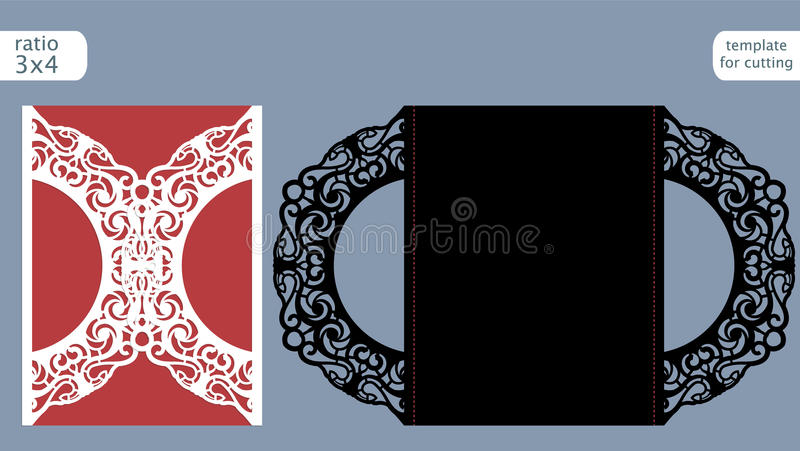 Laser cut wedding invitation card template vector. Die cut paper card with abstract pattern. Cutout paper gate fold card for laser. Cutting or die cutting vector illustration