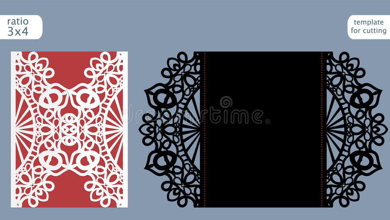 Laser cut wedding invitation card template vector. Die cut paper card with abstract pattern. Cutout paper gate fold card for laser. Cutting or die cutting stock illustration