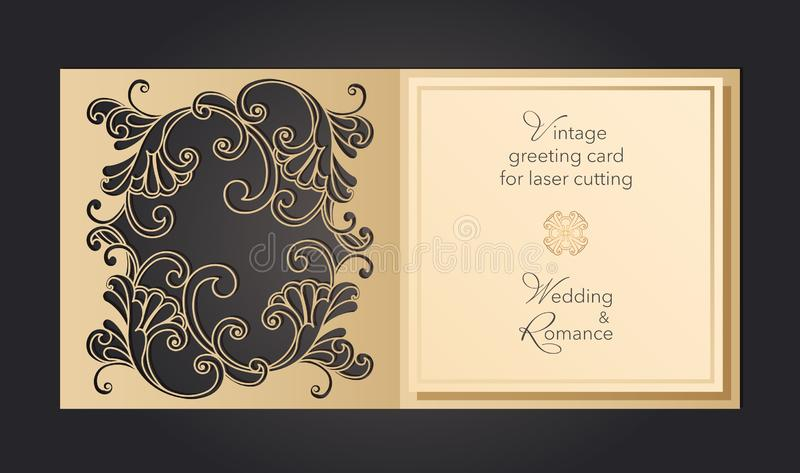 Laser cut wedding invitation template with lace pattern in vintage style. Envelope with ornate abstract ornament for. Greeting card. Openwork vector silhouette stock illustration
