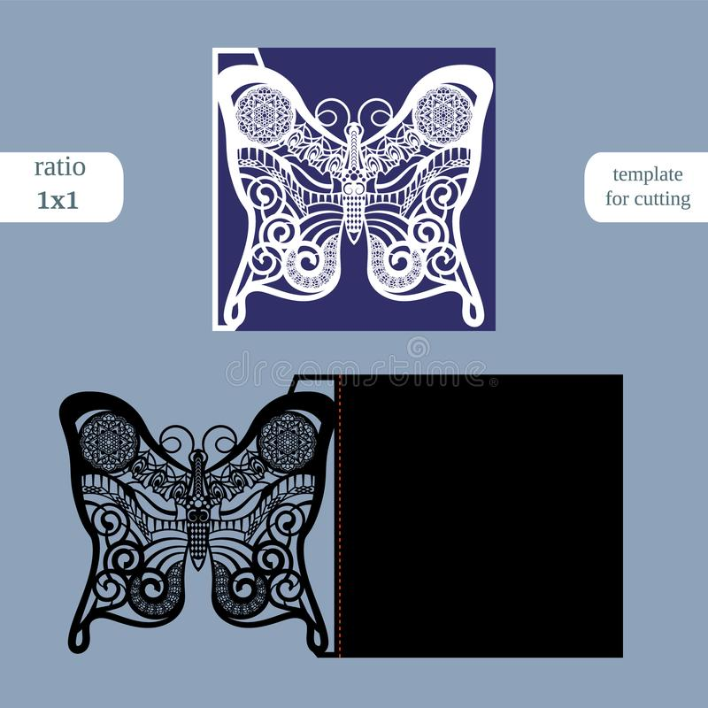 Laser cut wedding square card template. Cut out the paper card with butterfly pattern. Greeting card template for cutting plotter. stock illustration