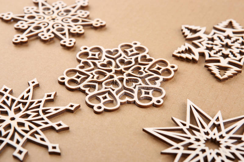 Download Laser Cut Wood Snowflakes Ornaments. Stock Photo - Image: 83709107