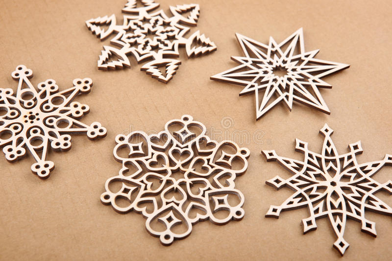 Download Laser Cut Wood Snowflakes Ornaments. Stock Photo - Image: 83709468