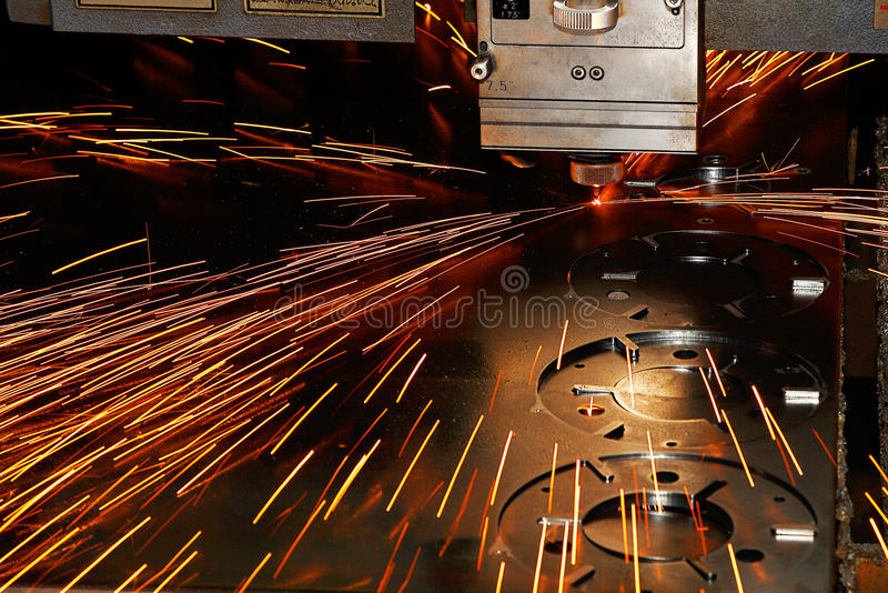 Laser cutting close-up from machinery industry royalty free stock photography