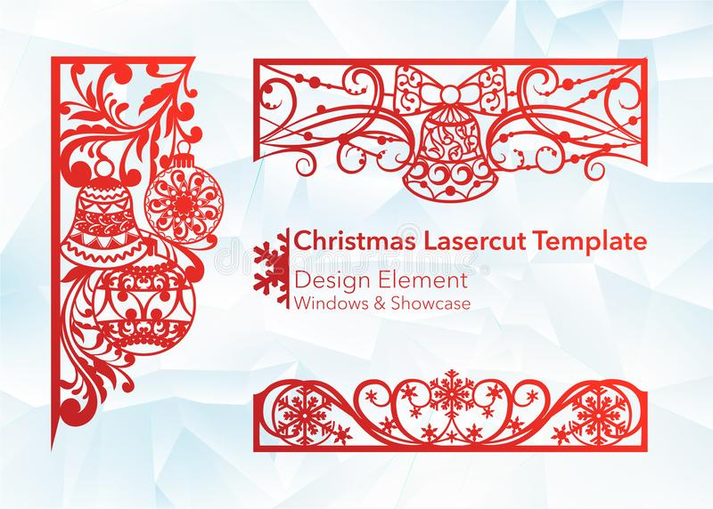 Laser cutting design for Christmas and New Year. Silhouette cut. A set of template of corner and horizontal elements to royalty free illustration