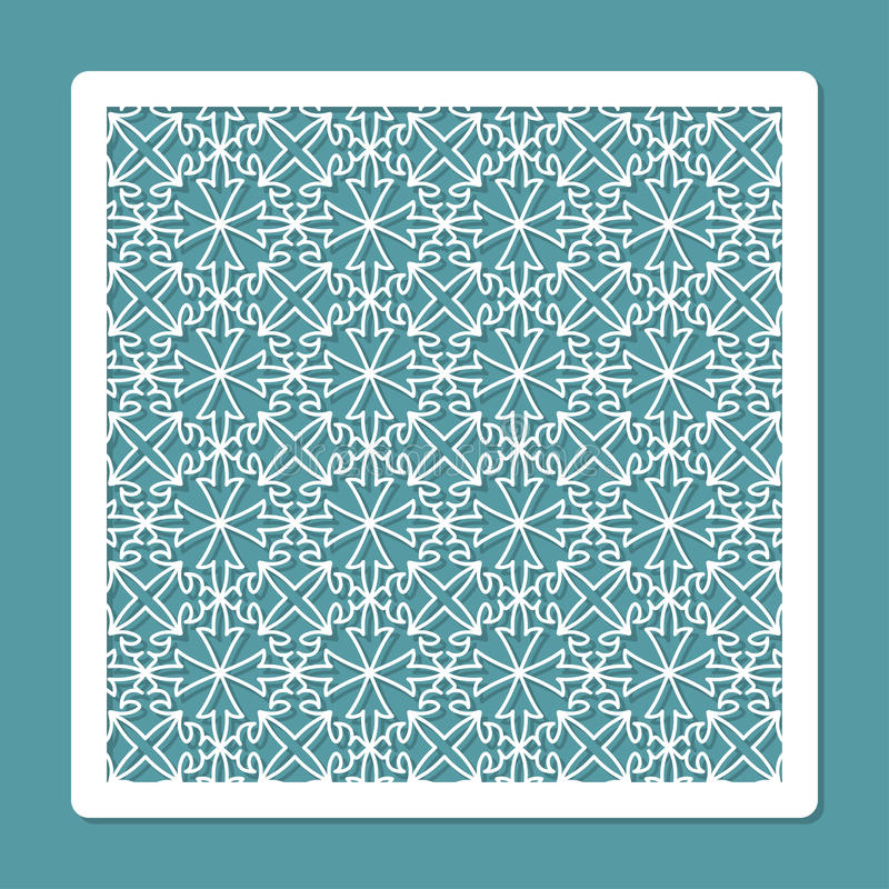 Laser cutting and printing template. Square decorative carved panel. Card for greeting cards, invitations, photos, and more. stock illustration