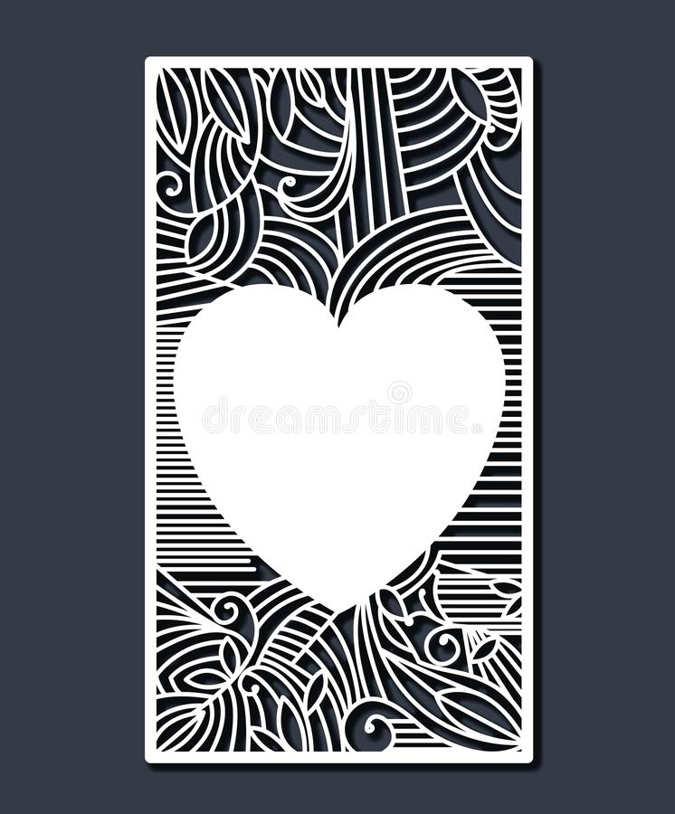 Laser cutting rectangular frame with decorative heart in steel blue color background stock illustration