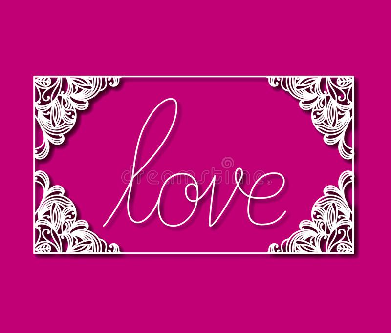 Laser cutting of rectangular frame with floral border and love text inside with magenta color background stock illustration