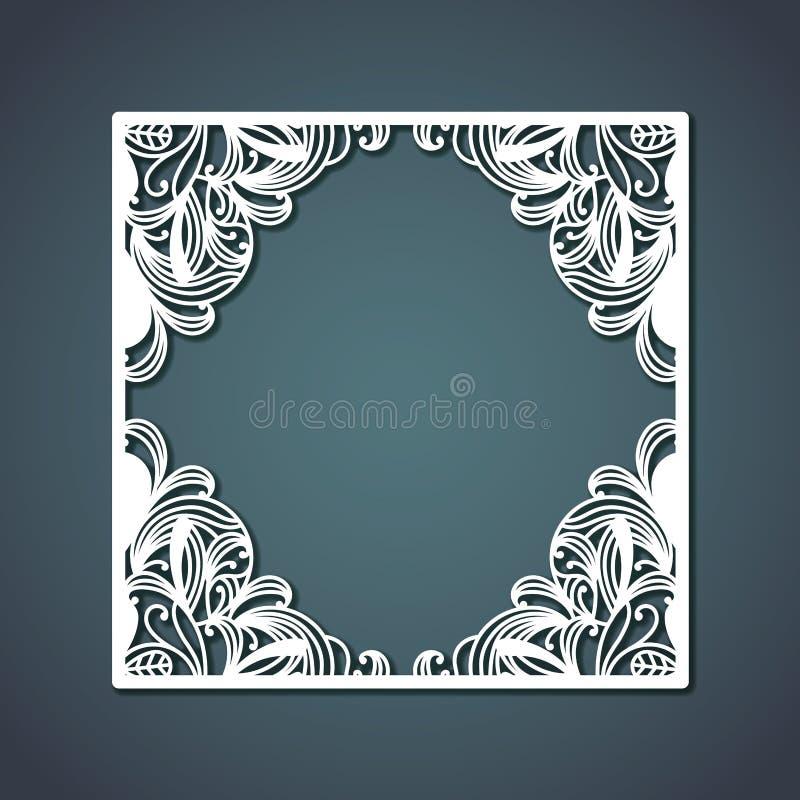 Laser cutting of square frame with floral decoration design forming diamond inside on steel blue color background vector illustration