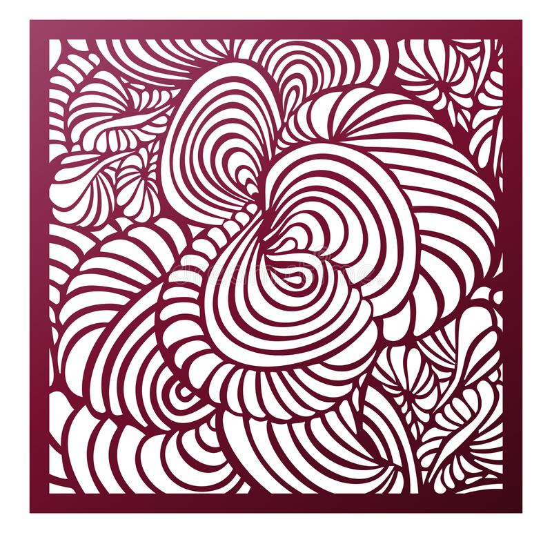 Laser cutting square panel. Abstract fantastic hypnotic floral pattern with plants. Perfect for gift box silhouette ornament, wall vector illustration