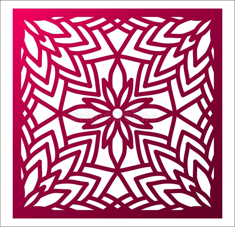 Laser cutting square panel. Openwork floral pattern with mandala. Perfect for gift box silhouette ornament, wall art, screen, panel fence, partition, gate or stock illustration