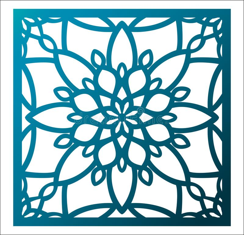Laser cutting square panel. Openwork floral pattern with mandala. Perfect for gift box silhouette ornament, wall art, screen, panel fence, partition, gate or vector illustration