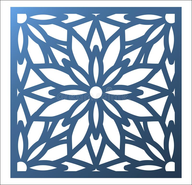 Laser cutting square panel. Openwork floral pattern with mandala. Perfect for gift box silhouette ornament, wall art, screen, panel fence, partition, gate or royalty free illustration