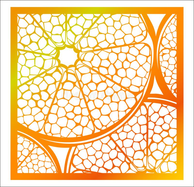 Laser cutting square panel. Openwork natural pattern with section of citrus fruit. Perfect for gift box silhouette ornament, wall. Art, screen, panel fence stock illustration