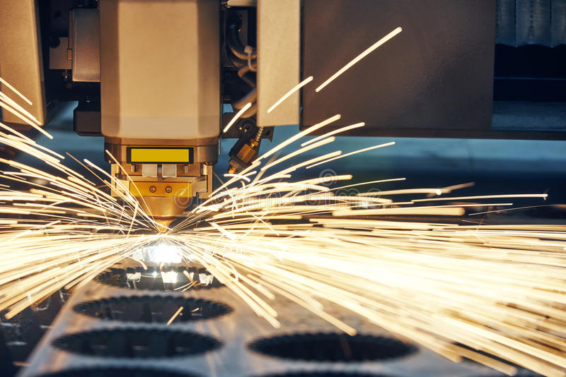 Laser cutting technology of flat sheet metal steel material proc royalty free stock image
