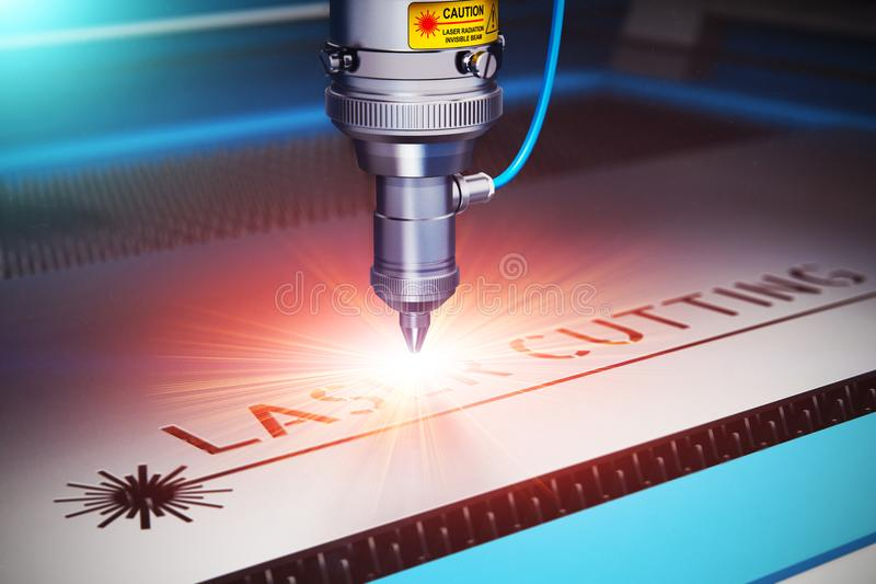 Laser cutting technology vector illustration