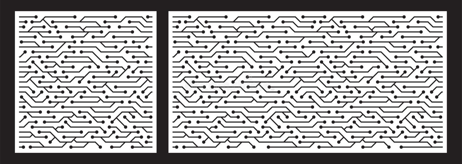Laser cutting template for decorative panel. Abstract circuit pattern. Vector illustration. stock illustration