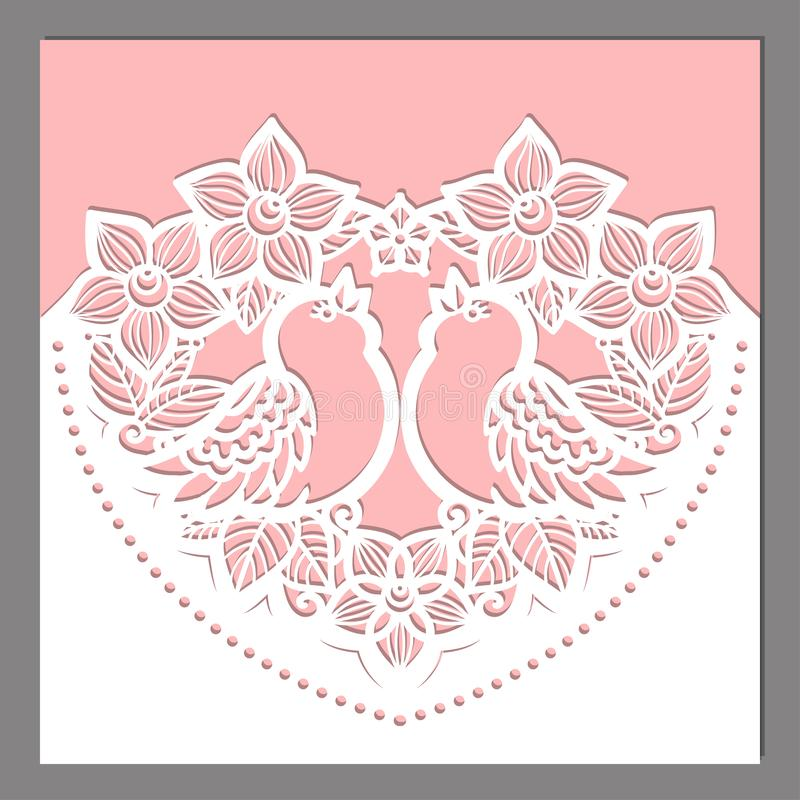 Laser cutting template. Heart of flowers with birds. For design, invitations, cards, menu. Vector stock illustration