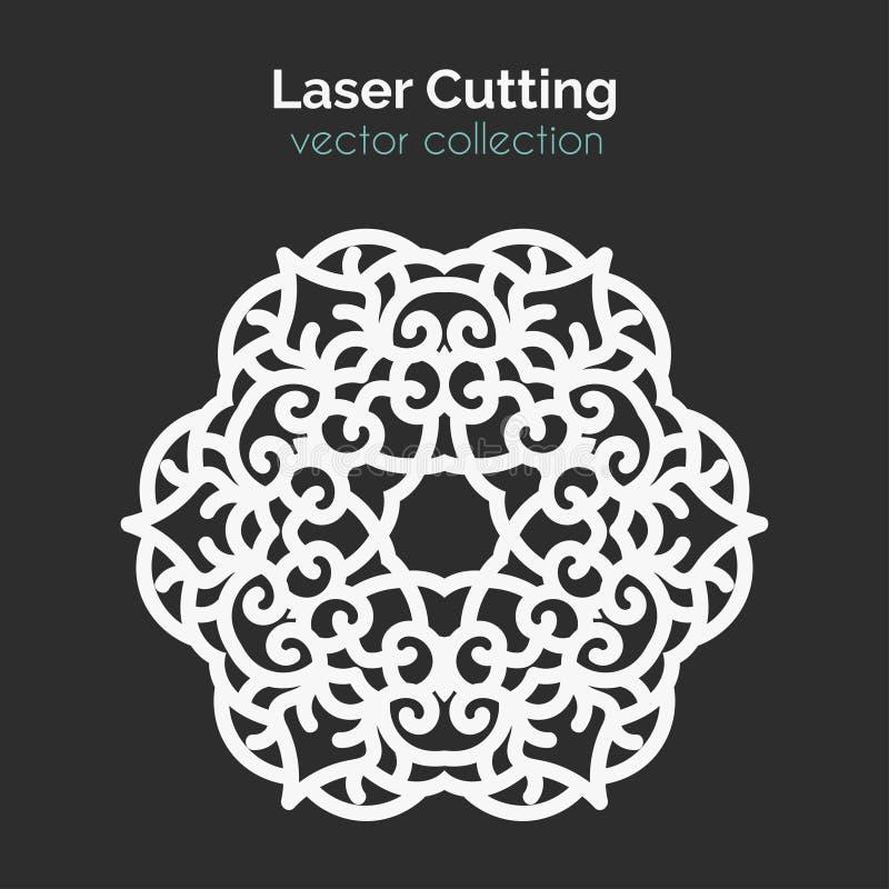 Laser Cutting Template. Round Card. Die Cut vector illustration