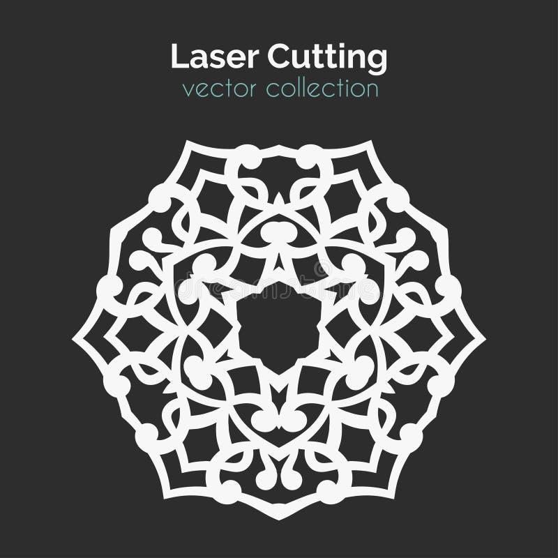 Laser Cutting Template. Round Card. Die Cut Mangala royalty free illustration