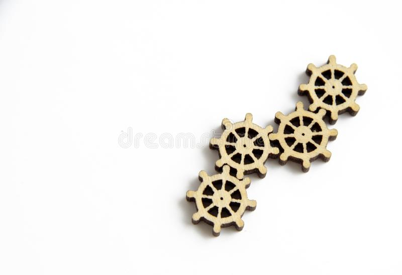 Laser cutting wooden gears on a white background royalty free stock images