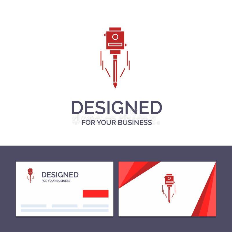 Laser de visita de la plantilla creativa de la tarjeta y del logotipo, edificio, construcción, nivel, ejemplo del vector de la he libre illustration