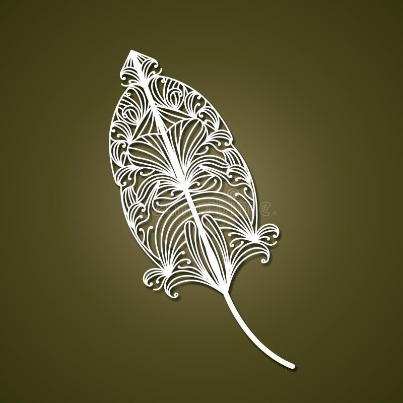 Laser, der abstrakte Feder mit dekorativen Formen im olivgrünen Farbhintergrund schneidet vektor abbildung