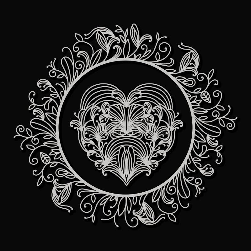 Laser, der abstrakten runden Rahmen mit externer Dekoration von Niederlassungen mit Blättern und Herzen nach innen im schwarzen H lizenzfreie abbildung