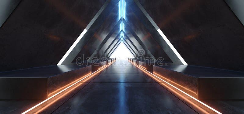 Laser f?r apelsinen f?r triangeltunnelneon t?nder fluorescerande vibrerande gul bl? gl?dande konkret ledd den m?rka tomma halling vektor illustrationer
