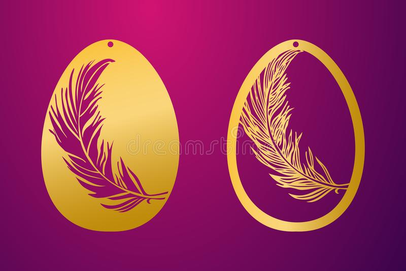 Laser geschnittenes glückliches Osterei Vektorschablone dekoratives Osterei lizenzfreie abbildung
