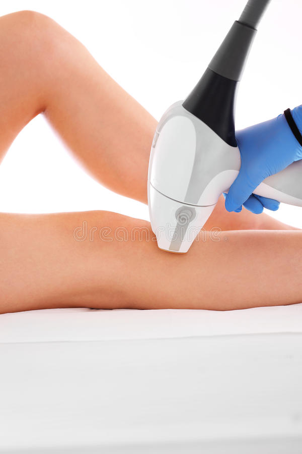Laser hair removal legs stock photos