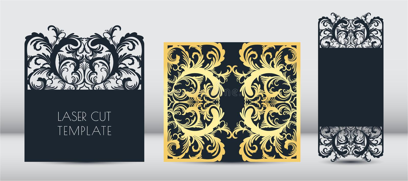 Laser-inbjudankort, mall för hälsningkort Bitande blom-, grönsakmodell av papper, papp Ram med stället royaltyfri illustrationer