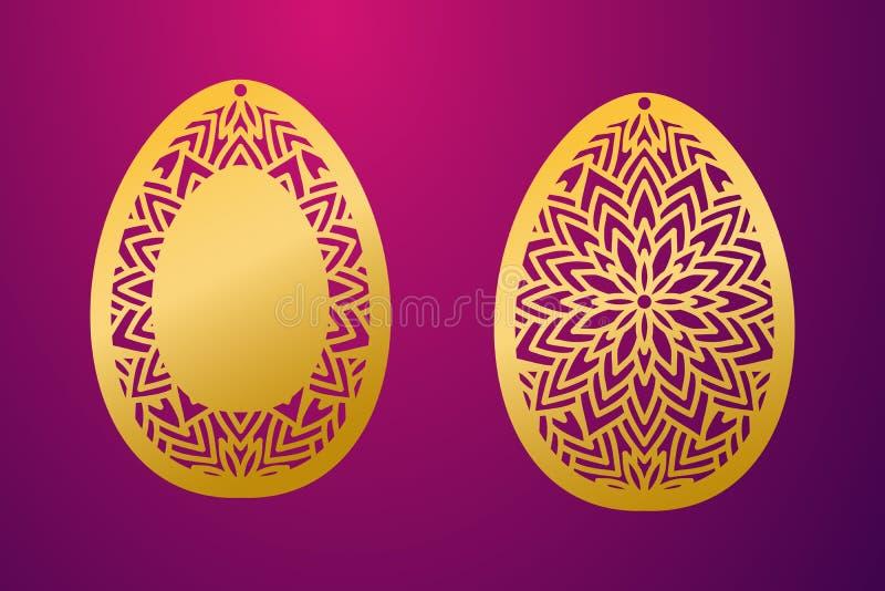 Laser klippt lyckligt påskägg Ägg för påsk för vektorstencil dekorativt royaltyfri illustrationer