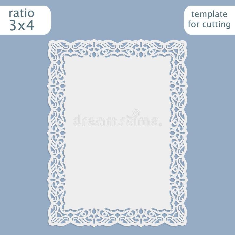 Laser klippte mallen för bröllopinbjudankortet med den openwork gränsen Klipp det pappers- kortet med snör åt ut modellen Templat royaltyfri illustrationer