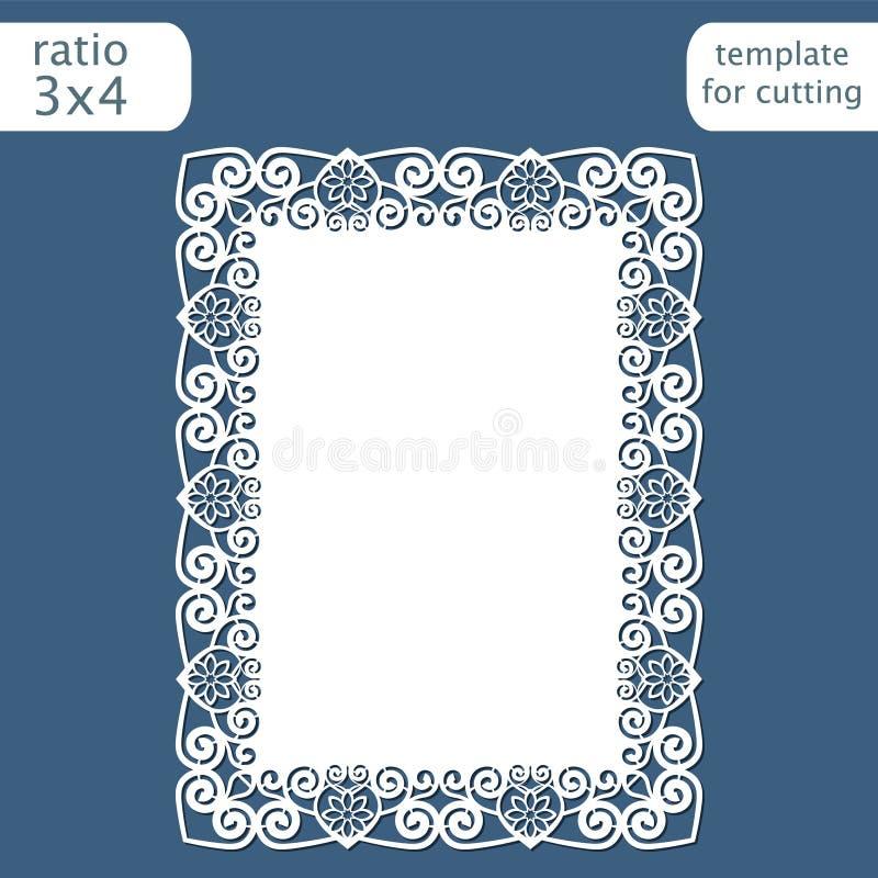 Laser klippte mallen för bröllopinbjudankortet med den openwork gränsen Klipp det pappers- kortet med snör åt ut modellen Templat stock illustrationer