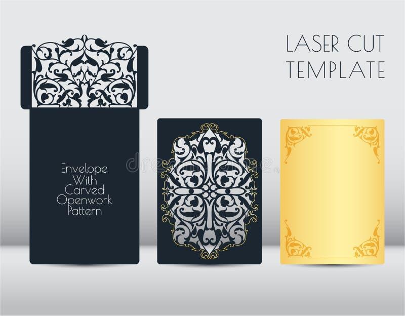 Laser-kuvertmall, hälsningkort Bitande blom-, grönsakmodell av papper, papp Ram med stället för a royaltyfri illustrationer