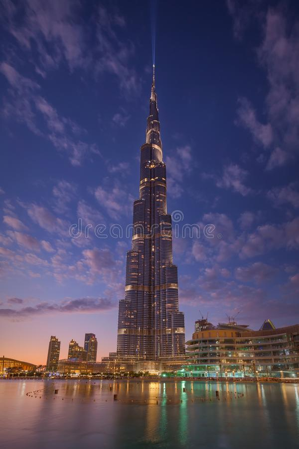 Modern decoration on Burj Kalifa skyscraper at beautiful sunset stock image