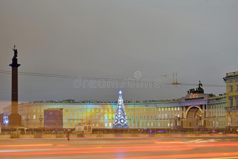 Laser light show on Palace square in winter night royalty free stock image