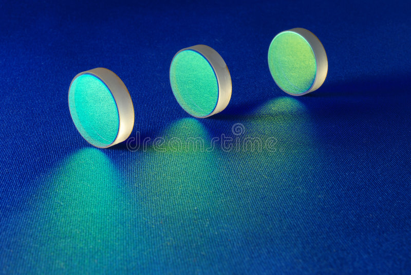 Laser mirrors line stock photography