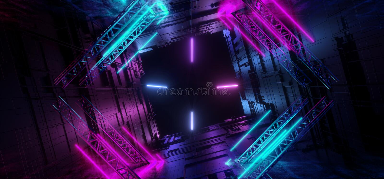 Laser Neon Glowing Lines Purple Blue Futuristic Sci Fi Tunnel Motherboard Chip Texture Reflective Background Underground Alien stock illustration