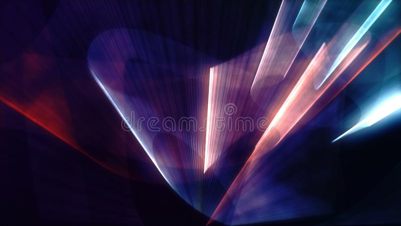 Laser neon red and blue light rays flash and glow stock photos