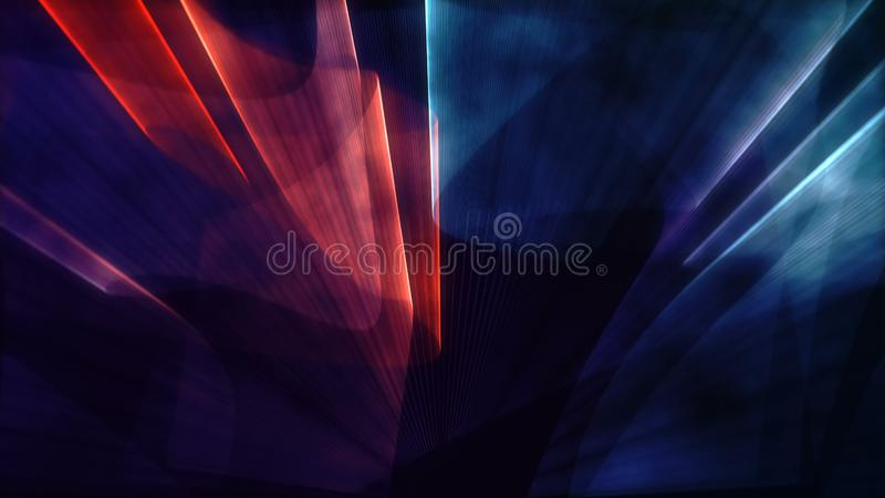 Laser neon red and blue light rays flash and glow stock images