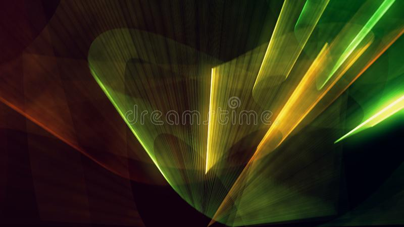 Laser neon red and green light rays flash and glow stock images